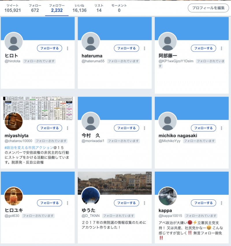 増えたTwitterのフォロワー