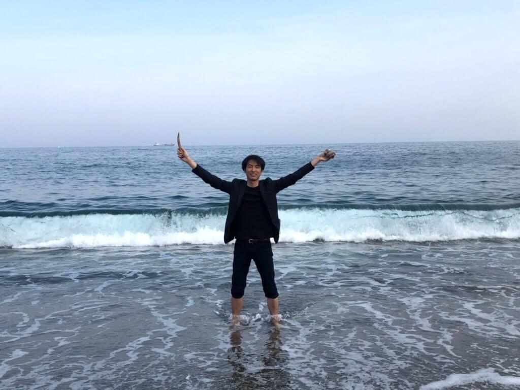 高知県・桂浜にて